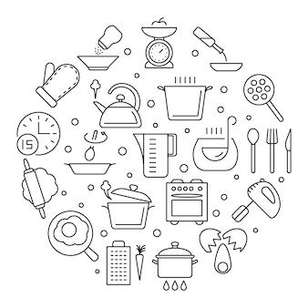 Icone di linea sottile di cibi e utensili da cucina di cottura