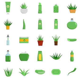 Icone di logo della pianta della vera dell'aloe impostate