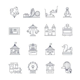 Icone di luna park linea divertimenti