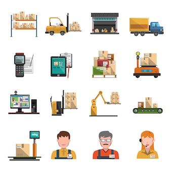 Icone di magazzino piatte