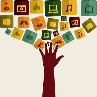 Icone di marketing globale su sfondo bianco illustrazione vettoriale