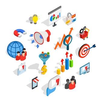Icone di marketing messe, stile isometrico 3d