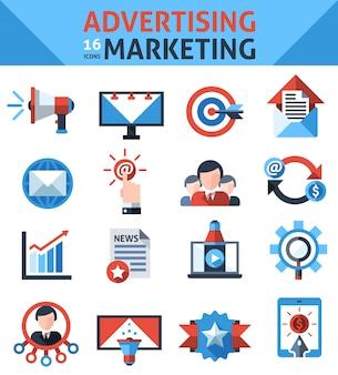 Icone di marketing pubblicitario