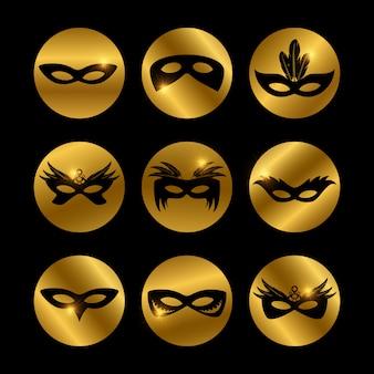 Icone di maschere per il viso di partito con elementi luminosi