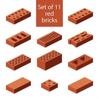 Icone di mattoni isometrico piatto 3d. elementi industriali costruire materiali da costruzione.
