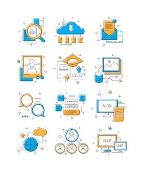 Icone di media digitali, social marketing, gruppo di persone della comunità per parlare in web simboli di linea colorata illustrativa connessione mobile