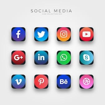 Icone di media sociali gradiente