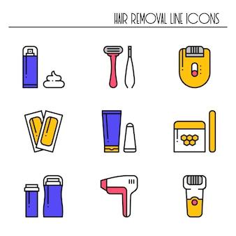 Icone di metodi di rimozione dei capelli.