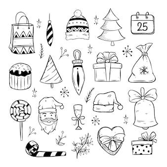 Icone di natale carino o elementi con arte di doodle