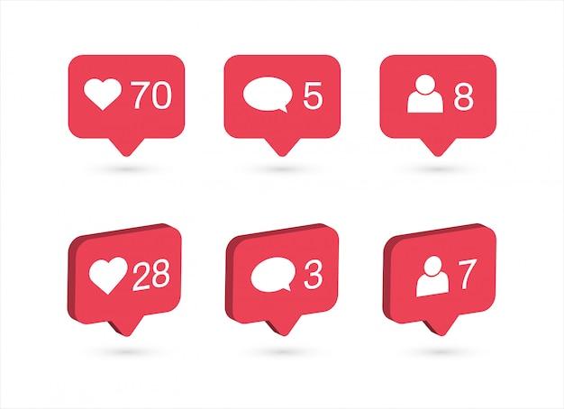 Icone di notifiche dei social media. mi piace, commenta, segui l'icona.