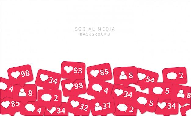 Icone di notifiche dei social media. sfondo di social media.