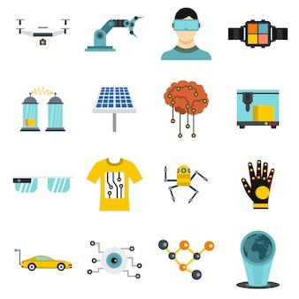 Icone di nuove tecnologie impostate in stile piano