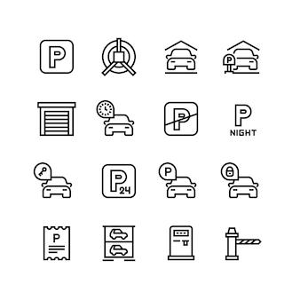 Icone di parcheggio. garage auto e simboli della linea di parcheggio