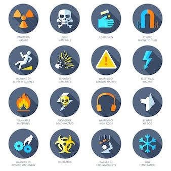 Icone di pericolo piatte