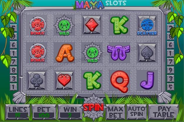 Icone di pietra slot azteche. menu completo di interfaccia utente grafica e set completo di pulsanti per la creazione di giochi da casinò classici. slot machine con interfaccia in stile maya. casinò di gioco, slot, interfaccia utente.