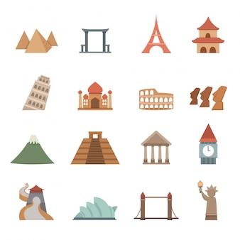 Icone di posizioni di viaggi e turismo