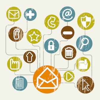 Icone di posta elettronica sopra illustrazione vettoriale sfondo beige