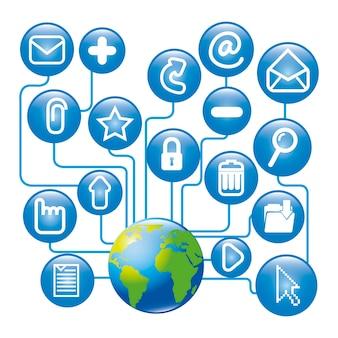 Icone di posta elettronica sopra illustrazione vettoriale sfondo bianco