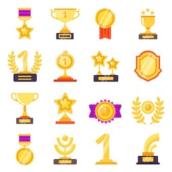 Icone di premi. premio della medaglia del trofeo con i nastri per i simboli piani dei vincitori isolati