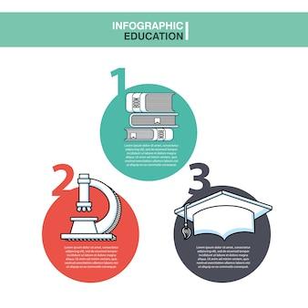 Icone di presentazione di educazione infografica