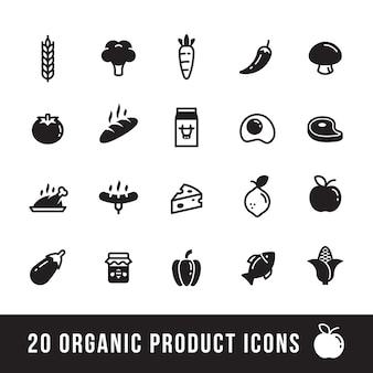 Icone di prodotti agricoli e biologici