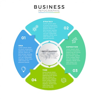 Icone di progettazione del cerchio di affari infographic 4 opzioni o passaggi