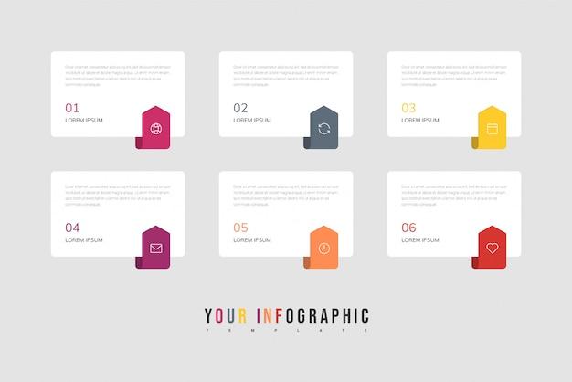 Icone di progettazione e marketing di infografica. concetto di business con 6 opzioni, passaggi o processi.