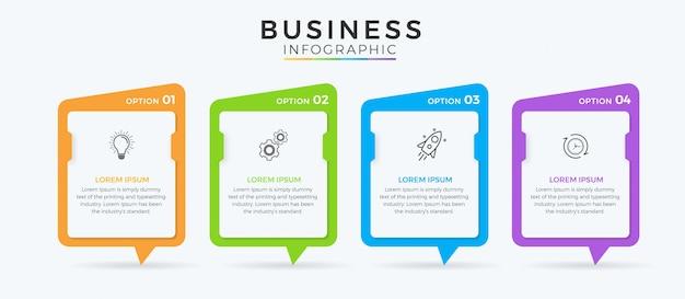 Icone di progettazione infographic di affari 4 opzioni o passaggi