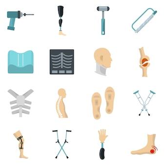 Icone di protesi ortopedia impostata in stile piano
