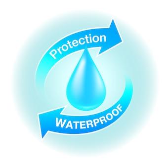 Icone di protezione impermeabile media realistici su prodotti resistenti.