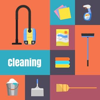 Icone di pulizia sull'illustrazione dell'insegna