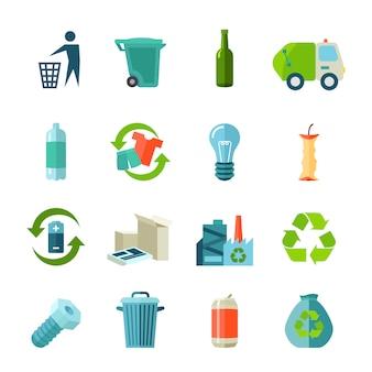 Icone di riciclaggio impostate con tipi di rifiuti e raccolta piatta