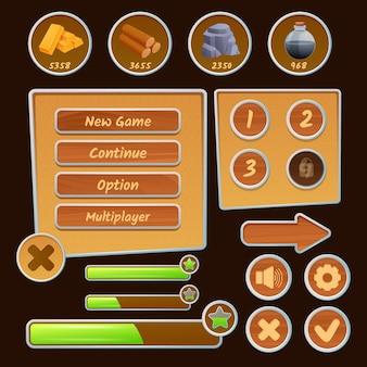 Icone di risorse ed elementi di menu per giochi di strategia sullo sfondo marrone