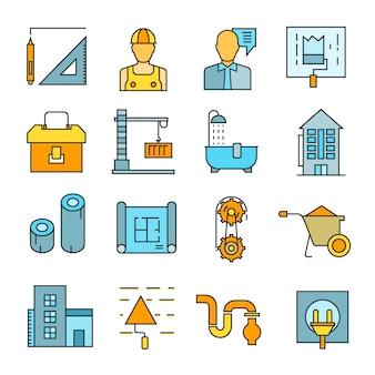 Icone di ristrutturazione edilizia e casa