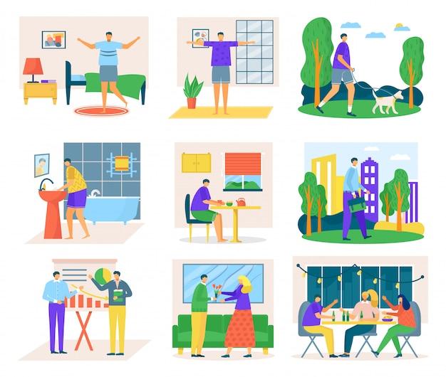 Icone di routine quotidiana dell'uomo insieme delle illustrazioni. programma quotidiano di lavoro e riposo, routine quotidiana, tempo trascorso a casa e in ufficio. l'uomo si alza la mattina, mangia il pranzo e al lavoro.