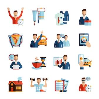 Icone di routine quotidiana dell'uomo