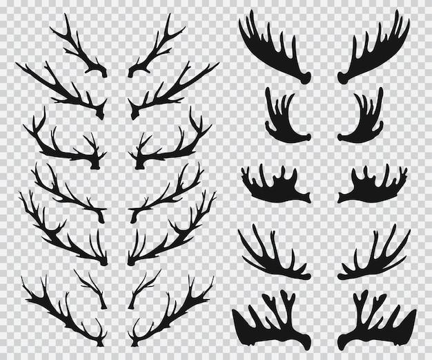 Icone di sagoma nera di corna di cervo e alce impostato su uno sfondo trasparente.