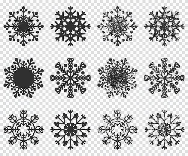 Icone di sagoma nera di fiocchi di neve impostata su sfondo trasparente.