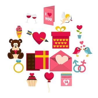Icone di san valentino impostate in stile piano