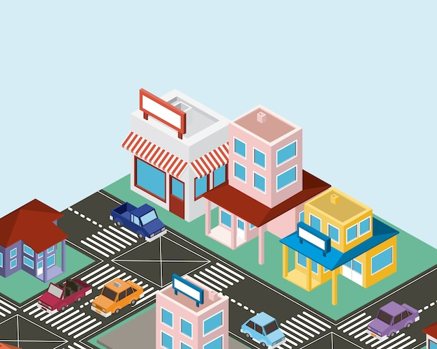Icone di scena città isometrica