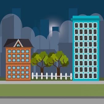 Icone di scena notturna di paesaggio urbano