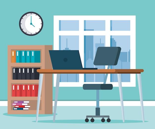 Icone di scena ufficio sul posto di lavoro