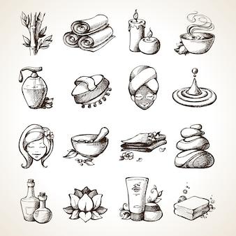 Icone di schizzo spa