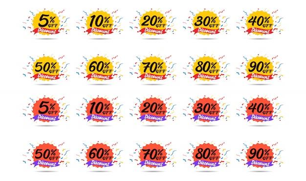 Icone di sconto di vendita. segni di prezzo di offerta speciale. 5, 10, 20, 30, 40, 50, 60, 70, 80 e 90 percento di sconto simboli di riduzione.