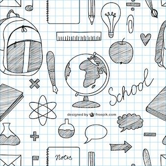 Icone di scuola disegnati a mano vettore