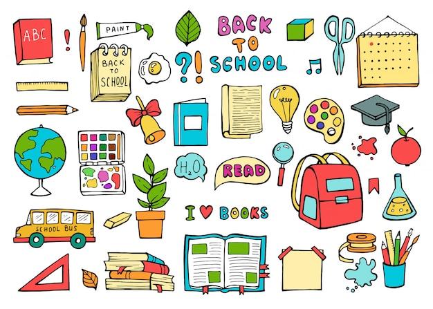 Icone di scuola. forniture per l'istruzione in stile doodle alla moda.