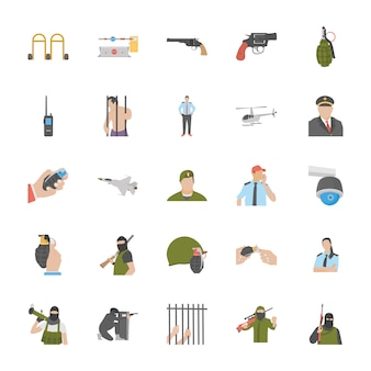Icone di servizi anti terrorismo