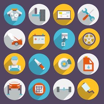 Icone di servizio automatico piatte