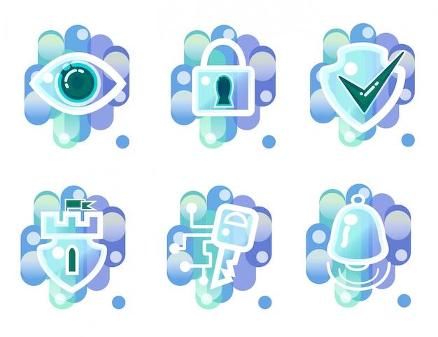 Icone di sicurezza, sorveglianza, accesso chiave, allarme