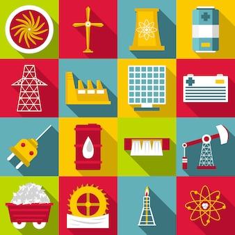 Icone di simboli di fonti di energia messe, stile piano